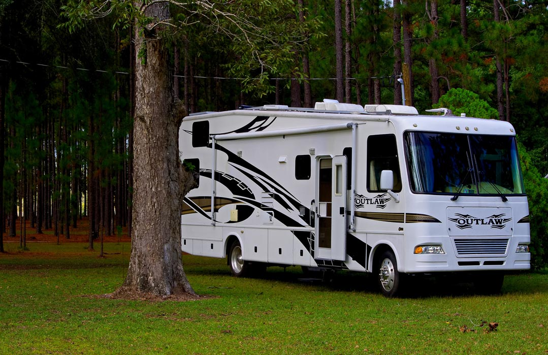 Class A RV camping in the woods