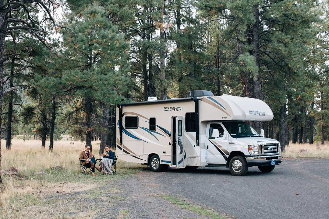 Class C RV camping in the woods