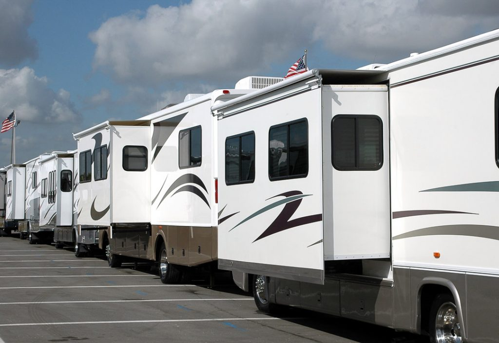 Multiple RV trailers in a Parking Lot