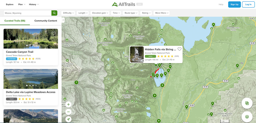 Picture of map of hikes on app Alltrails